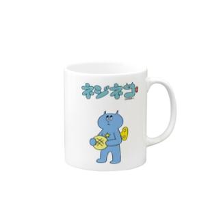 ネジネコとメロンパン(ロゴ入り) Mugs