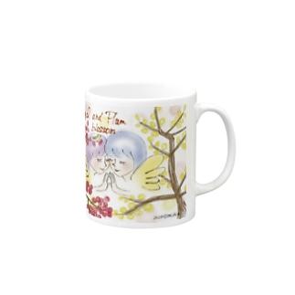 Ang31エンジェルと梅の花 Mugs