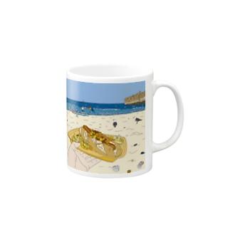 Hotdog on the Beach Mugs