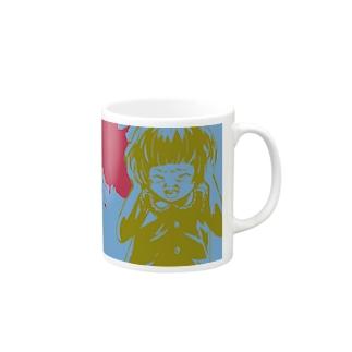 怖話-Girlイラスト3(Mug-Cup Blue) マグカップ