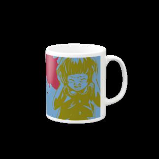 怖話グッズの怖話-Girlイラスト3(Mug-Cup Blue)マグカップ
