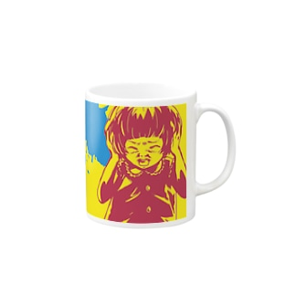 怖話-Girlイラスト3(Mug-Cup Yellow) Mugs