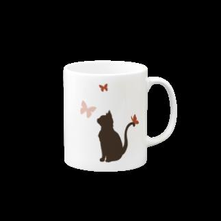 曄月 陽(はなつき よう)の猫と蝶(赤&青) マグカップ