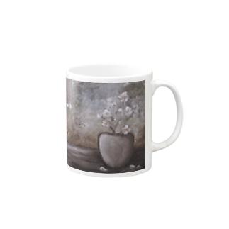 油絵:『白い花のある小部屋』 Mugs