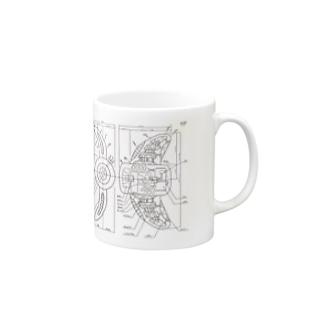 設計図風のイラスト Mugs