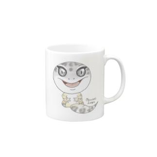 おすわりレオパ(マックスノー系) マグカップ