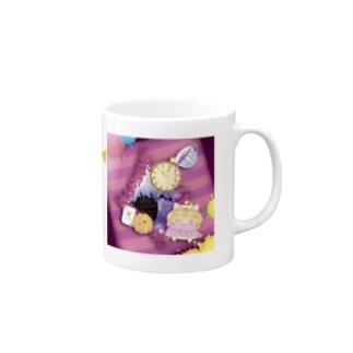 【マグ】《ハロウィン》04*チェシャきじとら猫*紫背景ver. Mugs