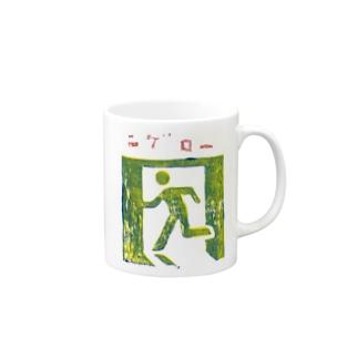 ニゲロー 非常口の木版画 Mugs