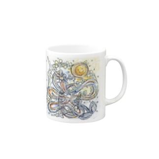 虹光るpureFLOWER/絵画マグ マグカップ