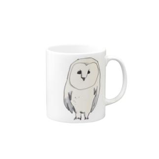 白いフクロウ Mugs