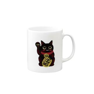 クロちゃん。招き猫series Mugs