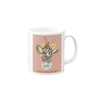 チョコレートパフェ(暖色背景) Mug
