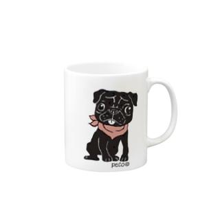 黒パグのペコ Mugs