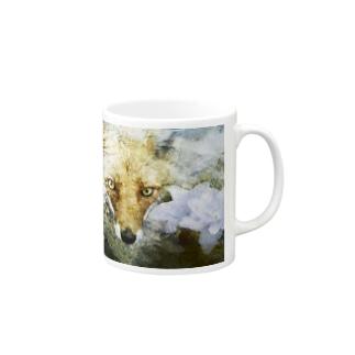 狐と紫陽花 Mugs