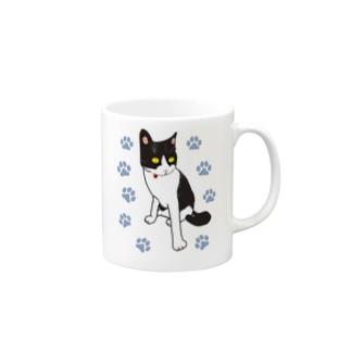 キリッとネコちゃん ハチワレ Mugs