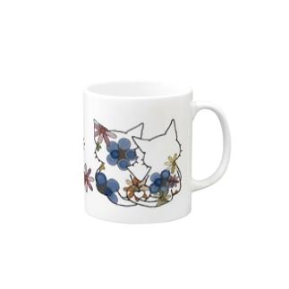 ネコ*なかよし♪ 花カラフル Mugs