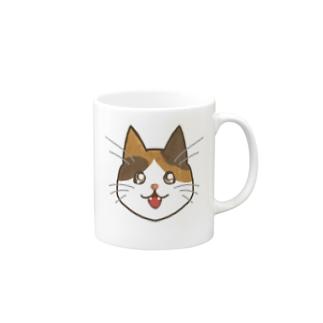 コナカマ通販SUZURI支店の三毛猫ちゃん Mugs