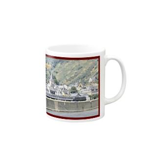 ドイツ:ライン河畔の風景写真 Germany: Riverside view of rhein Mugs
