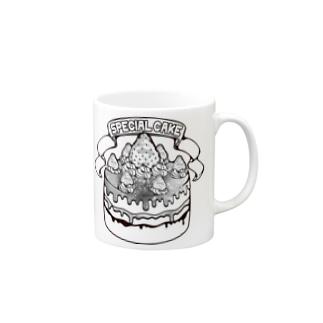 宇宙(そら)いちごのスペシャルケーキ-モノクロ Mugs