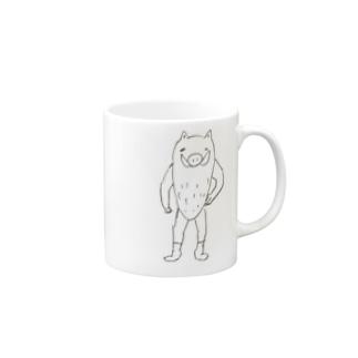 イノシシマン Mugs