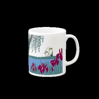 蛙池 かきつばたと睡蓮 マグカップ