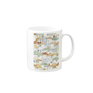 Toy house town. Mugs