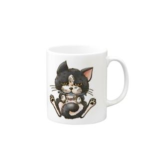魚を咥えた猫 Mugs