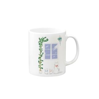 窓際の物語シリーズ【白猫親子】 Mugs