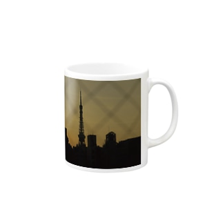 The silhouette of Tokyo Tower Mugs