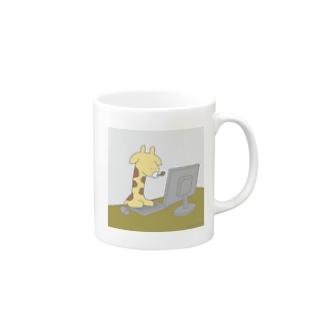 キーボードを打つきりん Mug