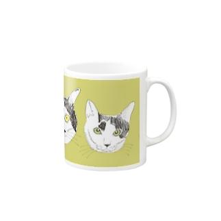 みーこ&てん  猫 白黒猫 イラスト 保護猫 Mugs
