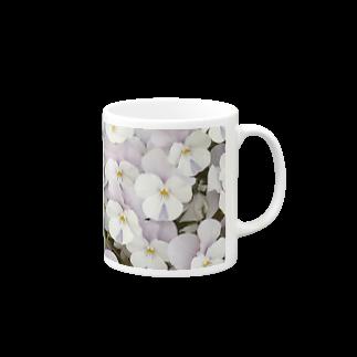 淡紫白パンジー マグカップ