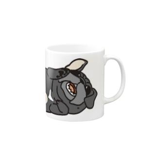 パグ(黒)マグカップ Mugs