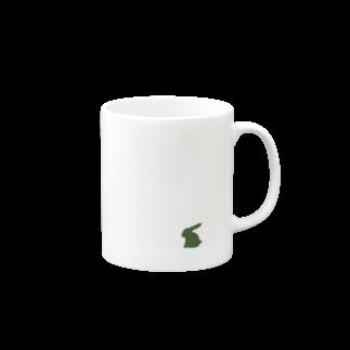 Paddy Fieldの緑のお座りうさぎ Mugs