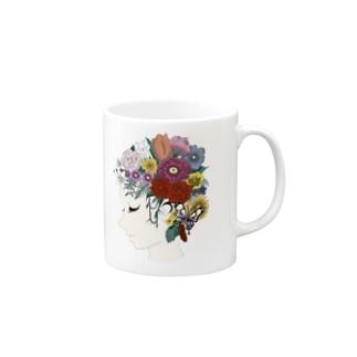 Flower Head Lady Mugs