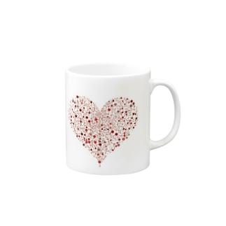 Dots Heart(Red) Mugs