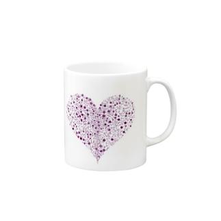 Dots Heart(Purple) Mugs