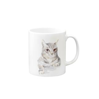 そんなにみつめないで!ドキドキしちゃうから♪かわいい猫のイラスト マグカップ