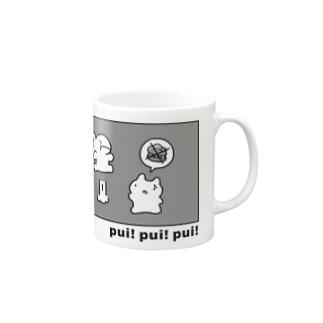 うさぽんとプイダモン Mugs