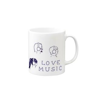 ヘッドホン男子&女子 Mugs