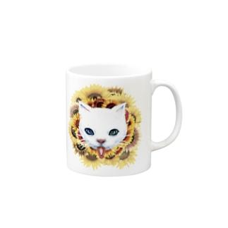 白猫と向日葵 マグカップ