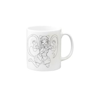 黒いマントの女の子【線画】 マグカップ