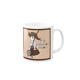 弓道少女と的虫(レッド) Mugs