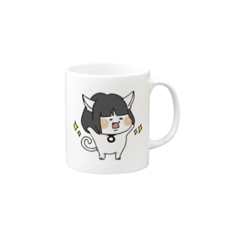おかっぱ猫ぶんちゃん(白) Mugs