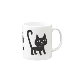 しっぽピーン 三匹の黒猫ちゃん マグカップ