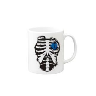 肋骨×南京錠(ブルー) Mugs