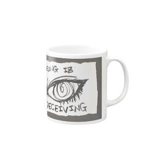 偽諺~参~「百聞は一見に如く」(黒縁) Mugs