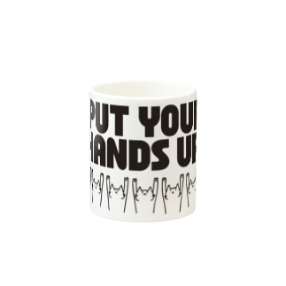 PUT YOUR HANDS UP! ・黒 Mugs