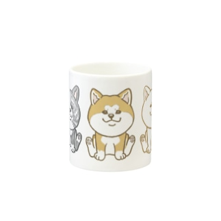 おすわり秋田犬トリオ Mugs