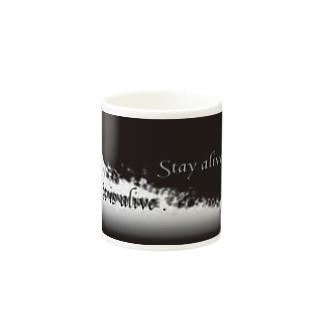 英字、ブラック/ブラック Mugs